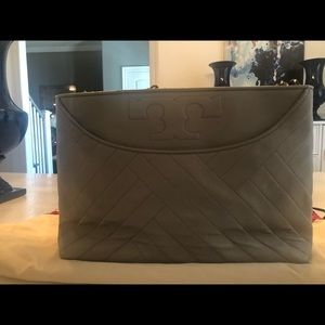 NWOT!  Tory Burch Gray Leather Tote.